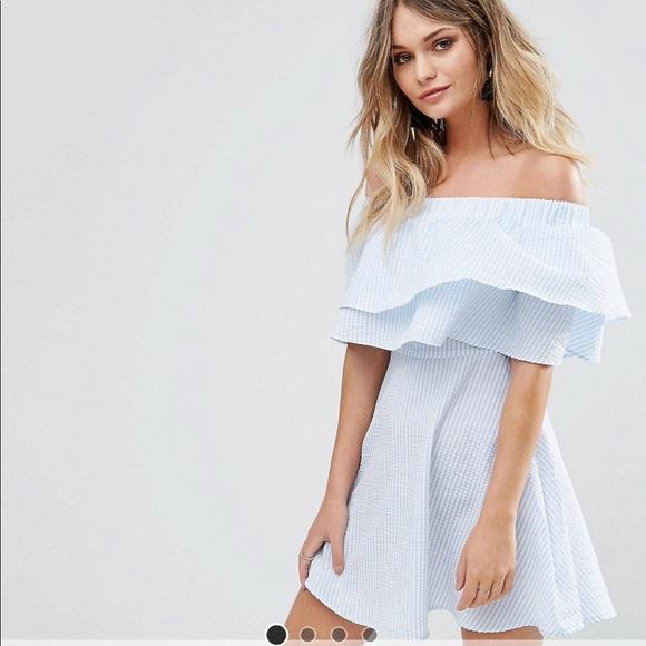af40f94f0422 ASOS Missguided Ruffle Bardot Swing Dress. M 5aabd0e2fcdc31552c17dd65